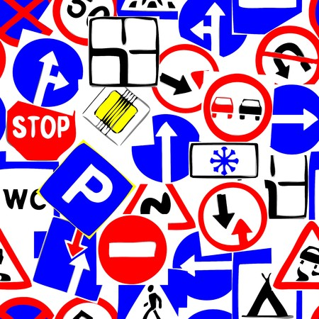 Seamless vector wallpaper with road signs Illustration