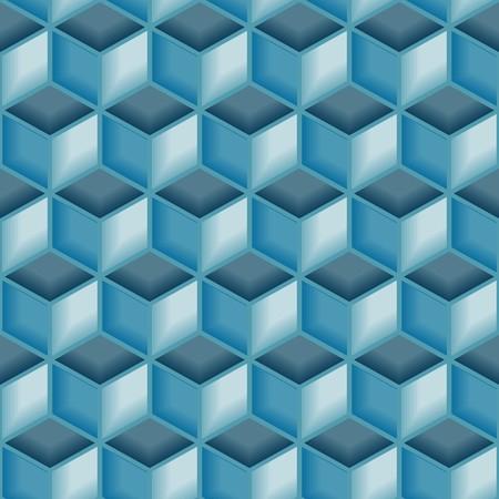 Blue 3d tiles. Seamless vector pattern