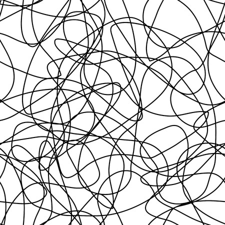 Seamless abstract pattern with swirl uncolored lines