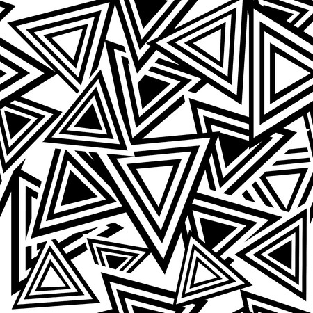 Retro black and white seamless triangle background Ilustração