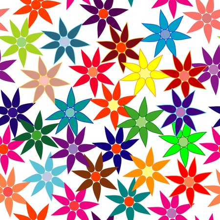 Vivid colorful repeating flower background on white