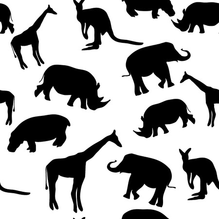 Seamless vector black and white background with wild animals