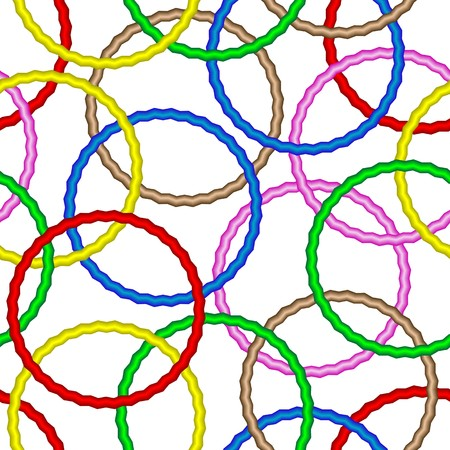Seamless vector texture with 3d vivid rings Illustration