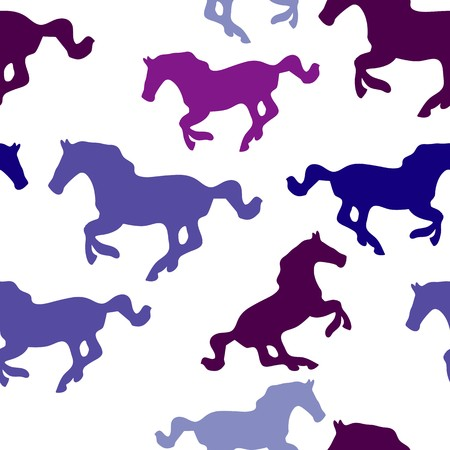 Seamless vector background with horses Illustration
