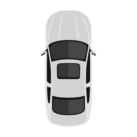 Car from above, top view. Cute cartoon car with shadows. Modern urban civilian vehicle. One of the collection or set. Simple icon or logo. Realistic design. Flat style vector illustration.