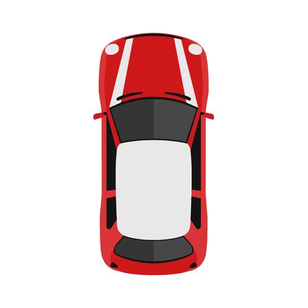 Auto von oben, Ansicht von oben. Nettes Karikaturauto mit Schatten. Modernes städtisches Zivilfahrzeug. Englischer Stil. Einfaches Symbol oder Logo. Realistisches Design. Flache Artvektorillustration.