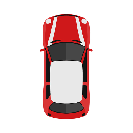 Car from above, top view. Cute cartoon car with shadows. Modern urban civilian vehicle. English style. Simple icon or logo. Realistic design. Flat style vector illustration. Çizim