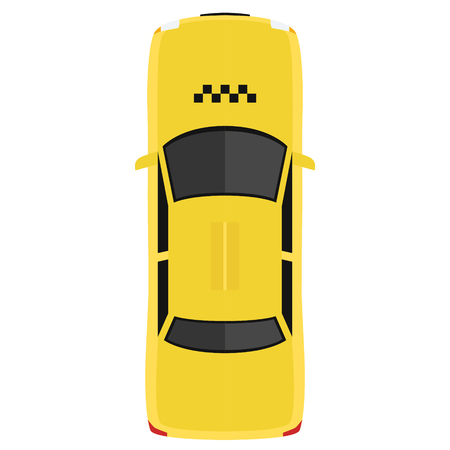 Taxi car from above, top view. Cute cartoon transport with shadows. Modern urban vehicle. One of the collection or set. Simple icon or logo. Realistic design. Flat style vector illustration.