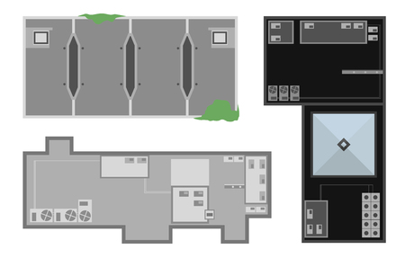 Set of buildings from above, top view. Realistic modern houses isolated on white background. City landscape elements. Simple cartoon cityscape. Flat style vector illustration.
