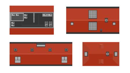 Zestaw budynków z góry, widok z góry. Realistyczne nowoczesne domy na białym tle. Elementy krajobrazu miasta. Prosty rysunek gród. Ilustracja wektorowa płaski.