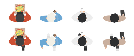Top view of people set isolated on a white background. Men and women. View from above. Male and female characters with phone, pizza, bag, coffee. Simple cartoon design. Flat style vector illustration. Ilustração