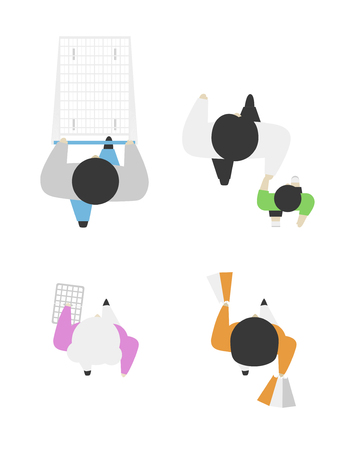 Set of people from above, top view. Simple style. Flat design vector illustration. Staying and walking different men and women in the shop on shopping with begs and with a cart.