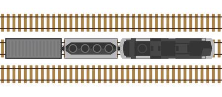 Train moderne sur rails isolé sur fond blanc. Gare avec wagons d'en haut. Vue de dessus. Style réaliste simple. Illustration vectorielle de dessin animé style plat.