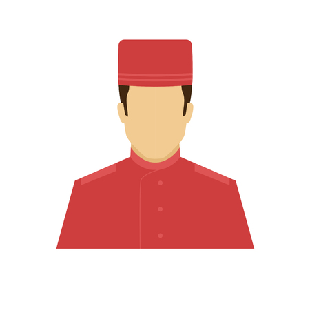 Concierge avatar icon. Profession logo. Male character. A man in professional clothes. People specialists. Flat simple vector illustration.