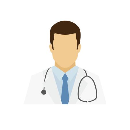 Icône d'avatar de docteur. Logo du métier. Caractère masculin. Un homme en tenue professionnelle. Spécialistes des personnes. Illustration vectorielle simple et plate.