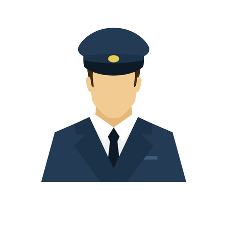 Driver avatar icon. Profession logo. Male character. A man in professional clothes. People specialists. Flat simple vector illustration. Ilustração