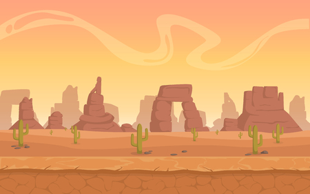 A high quality horizontal background of landscape with desert, cactus, rocks, hills, mountains. Sunset on a background of a mountain landscape. Cartoon flat vector game graphic.