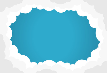 Blue sky with white clouds background. Border of clouds. Flat style simple vector illustration. Illustration