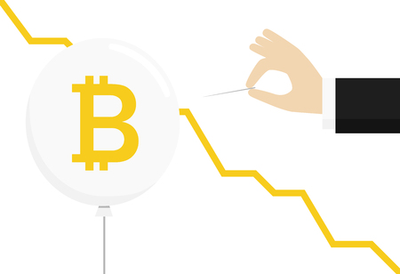 Bitcoin crypto currency flat style logo. Balloon and hand with a needle. Blockchain minimalistic bitcoin icon with balloon. Realistic design vector illustration. 矢量图像