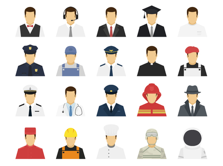 Professions set avatar icons. Male or female people characters. Waiter, support worker, businessman, student, policeman, pilot, doctor, driver, fireman, cook, builder. Flat simple vector illustration.
