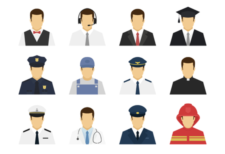 Les professions définissent des icônes d'avatar. Serveur, travailleur de soutien, homme d'affaires, étudiant, policier, plombier, pilote, médecin, chauffeur, pompier. Illustration vectorielle simple et plate.