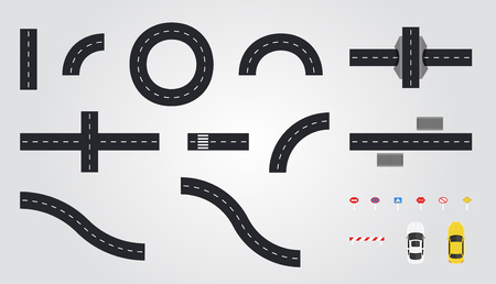 Road set for construction isolated on white background. Connectable highway elements. City constructor. view from above (top view). Map design. Road signs and cars. Flat style vector illustration.