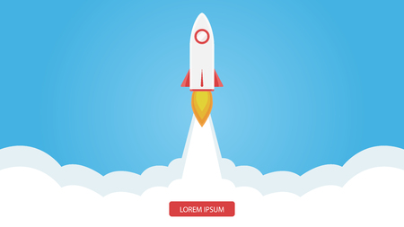Rocket flying isolated on white background. Icon and logo. Cute simple realistic space ship launch design. Template or banner for start up and success. Flat style vector illustration.