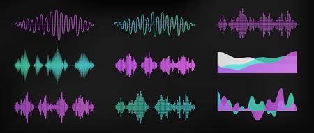 Set di onde sonore isolato su sfondo scuro. Tecnologia di equalizzazione digitale, lettore audio, impulso musicale. Ritmo sonoro. Design semplice e moderno. Illustrazione vettoriale di stile piano.