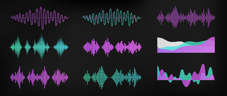 Sound waves set isolated on dark background. Digital equalizer technology, audio player, musical pulse. Sound rhythm. Simple modern design. Flat style vector illustration. Ilustração