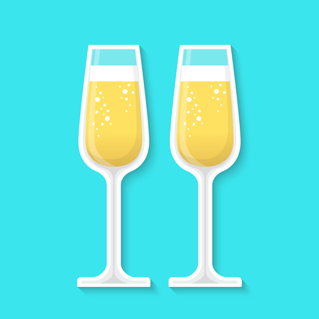 Glasses of champagne isolated on a blue background. Realistic sticker. Simple cute design. Icon or logo. Flat style vector illustration.