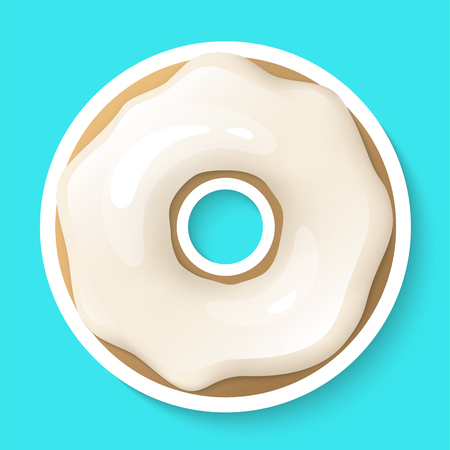 Donut isolated on a white background. Cute, colorful and glossy donuts with white vanilla glaze and powder. Realistic sticker. Icon or logo. Simple modern design. Realistic vector illustration.