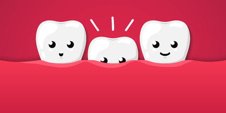 Tooth isolated on a red background. Cute cartoon character. The growth of teeth in children, milk teeth, molars. Dental health, care. Simple cartoon design. Flat style vector illustration.