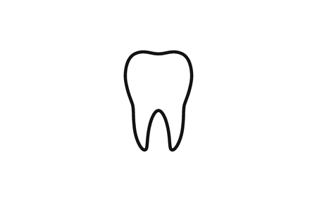 Tooth isolated on a white background. Icon or logo. Tooth silhouette, line. Dental health. Simple modern design. Flat style vector illustration.