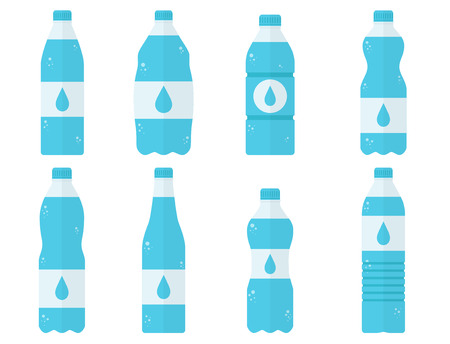 Plastic bottle set with water isolated on white background. Clean healthy drink. Simple icon and logo. Beautiful concept. Different shapes of bottles. Flat style vector illustration.