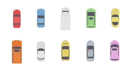 Zestaw samochodów widok z góry. Różne widoki transportu miejskiego pojazdów z powietrza lub z lotu ptaka. Na białym tle ikony samochodów auto z góry. Ilustracja wektorowa prosty płaski kreskówka. Ilustracje wektorowe