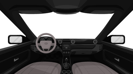 Car salon. View from inside of vehicle. Dashboard front panel. Driver view. Simple cartoon design. Realistic car interior. Flat style vector illustration. Vettoriali