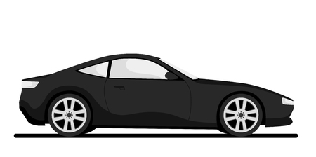 Car side view isolated on white background. Realistic concept design. Simple modern icon. Colorful cartoon city car and vehicle transport. Urban traffic . Flat style vector illustration.