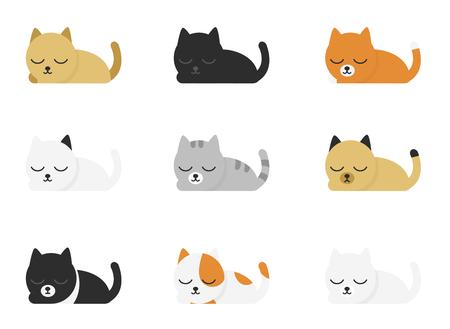 Verschiedene süße und lustige Cartoon-Katzen-Set isoliert auf weißem Hintergrund. Geometrische Formen. Einfache flache Vektorillustration.