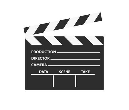 Realistic film clapper sign. Simple icon or logo isolated on white background. Flat style vector illustration. Illustration