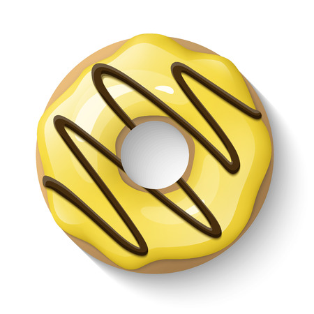 Donut isolated on a white background. Cute, colorful and glossy donuts with yellow glaze and chocolate. Simple modern design. Realistic vector illustration. Ilustração
