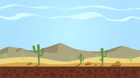 Cartoon nature sand desert parallax landscape with cactus, rocks and mountains. Vector game style illustration