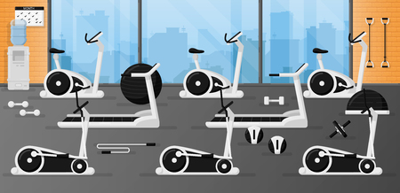 Gym fitness equipment set in the room with beautiful interior design. Black and white color. Collection of modern training apparatus. Cute cartoon design. Simple flat style vector illustration. 向量圖像