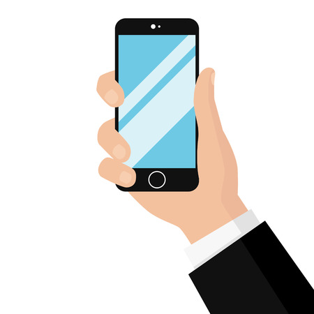 Smartphone in hands isolated on white background. Man's hand holding a phone in hand. Realistic template. Simple design cartoon icon and logo. Flat style vector illustration.