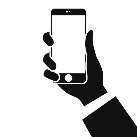 Smartphone in mani isolati su sfondo bianco. Mano dell'uomo che tiene in mano un telefono. Modello realistico. Logo e icona del fumetto di design semplice. Illustrazione vettoriale di stile piano. Logo