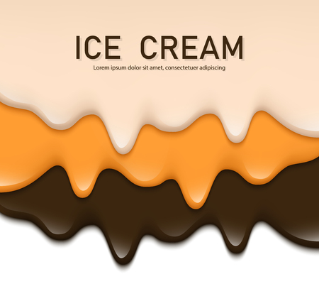 Creamy liquid, yogurt cream, ice cream or milk melting and flowing. White, orange, brown creamy drips. Simple cartoon design. Background, template for banner or poster. Realistic vector illustration.