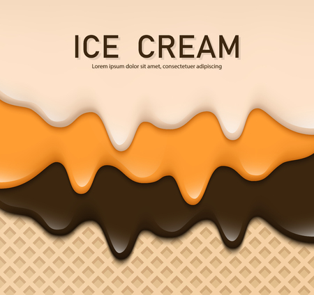 Creamy liquid, yogurt cream, ice cream or milk melting and flowing on a waffle. Chocolate creamy drips. Simple cartoon design. Background for banner or poster. Realistic vector illustration.