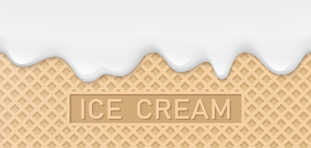 Creamy liquid, yogurt cream, ice cream or milk melting and flowing on a waffle. White creamy drips. Simple cartoon design. Background, template for banner or poster. Realistic vector illustration.