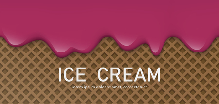 Creamy liquid, yogurt cream, ice cream or milk melting and flowing on a waffle. Burgundy cherry creamy drips. Simple cartoon design. Background for banner or poster. Realistic vector illustration.