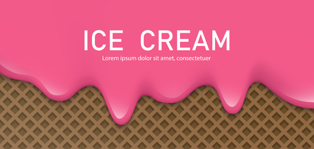 Creamy liquid, yogurt cream, ice cream or milk melting and flowing on a waffle. Pink cherry creamy drips. Simple cartoon design. Background for banner or poster. Realistic vector illustration.