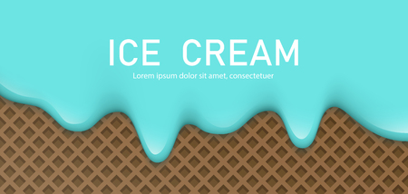 Creamy liquid, yogurt cream, ice cream or milk melting and flowing on a waffle. Blue turquoise creamy drips. Simple cartoon design. Background for banner or poster. Realistic vector illustration.